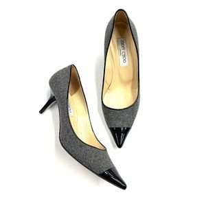 Jimmy Choo Gray Wool Patent Leather Cap Toe Heels